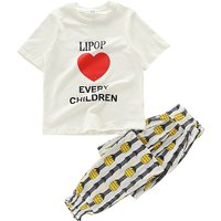 Stylish Heart Print Short-sleeve Tee and Pineapple Print Pants Set for Girls