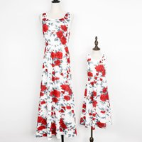 White Floral Printed Sleeveless Maxi Dress for Mommy and Me
