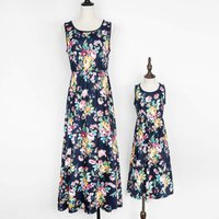 Gorgeous Printed Sleeveless Maxi Dress in Navy for Mommy and Me