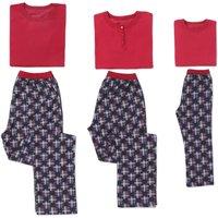 Family Matching Red Short Sleeves Top and Plaid Pants Pajamas Set