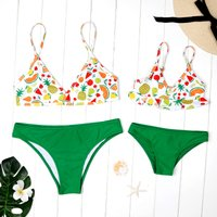 Mommy and Me 2-piece Fruit Printed Bikini Set in Green