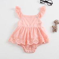 Baby Girl's Trendy Flutter-sleeve Hollow Out Bodysuit Dress