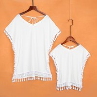 Mommy and Me Trendy V Neck Tassel Cover Up in White
