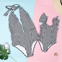 Mommy and Me Fresh Stripes Contrast One-piece Swimsuit