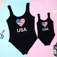 Mommy and Me Cool Graphic Printed One-piece Swimsuit