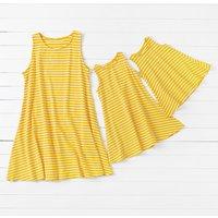 Pretty Yellow Stripes Sleeveless Mom and Me Dress