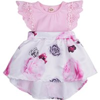 Pretty Lace Floral High-low Flutter-sleeve Dress in Pink for Baby and Toddler Girls
