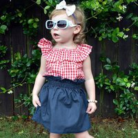 Sweet Plaid Ruffled Sleeveless Top and Denim Skirt Set for Baby and Toddler Girls
