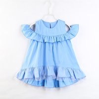 Fashionable Solid Ruffled Cold-shoulder Dress for Girl