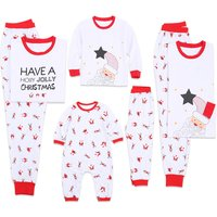 Holly Jolly Christmas Matching Pajamas in White