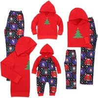 Jolly Christmas Tree Matching Pajamas in Red