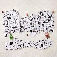 Christmas Dinos Printed Family Matching Pajamas in White