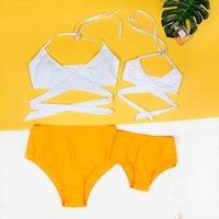 Mommy and Me 2-piece Cross Bikini Set in Yellow