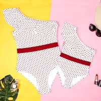 Trendy Polka Dots Ruffled One-shoulder Swimsuit for Moomy and Me