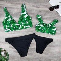 Mommy and Me Tropical Printed Bikini Set in Green