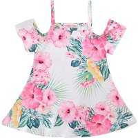 Lovely Flower Painting Print Cold Shoulder Short Sleeves Dress for Toddler Girls