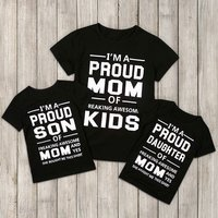 Mommy and Me Sweet Letter Printed T-shirt in Black