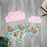 Mommy and Me Fruit Print Stripes Matching Bikini Set