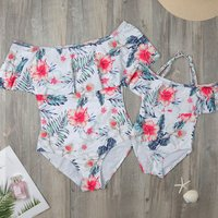 Mommy and Me Sweet Flounce Floral Off Shoulder Swimsuit