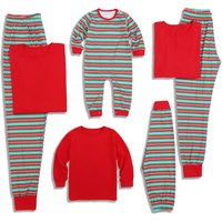 Classic Christmas Stripes Matching Pajamas Set in Red