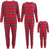 Trendy Red and Grey Striped Matching Pajamas in Red