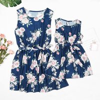 Mommy and Me Sleeveless Floral Dress with Belt in Dark Blue
