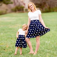 Mommy and Me Trendy Short-sleeve Heart Printed Dress