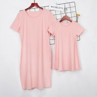 Comfy Solid Short-sleeve Dress for Mom and Me