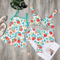 Mommy and Me Cute Fruit Pattern Matching Swimsuit