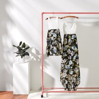 Pretty Patchwork Lace Floral  Mother and Daughter's Strapy Dress