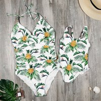 Mommy and Me Vintage Enhance Pineapple Printed One-piece Swimsuit