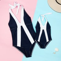 Vintage Color-black One-piece Swimsuit for Mommy and Me