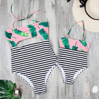 Stripes Leaves Printed Matching Swimsuit for Mommy and Me
