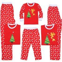 Mermaid Print Christmas Matching Pajamas in Red