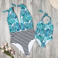 Trendy Leaves Printed Halter Mommy and Me Matching Swimsuit
