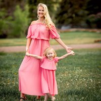 Mommy and Me Sweet Off Shoulder Dress in Pink