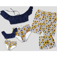 Summer Stripes Daisy Charm Family Matching Swimsuit