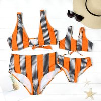 Mommy and Me Chic Striped Matching Bikini in Orange