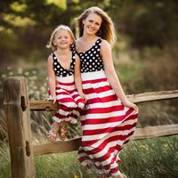 Mommy and Me Polka Dots Striped Sleeveless Maxi Dress