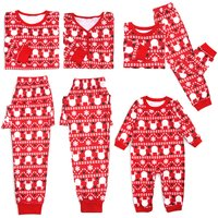 Lovely Deer Stripes Red Christmas Pajamas