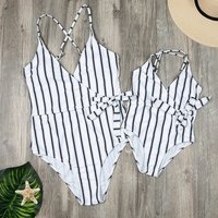 Mommy and Me Vintage Stripes One-piece Matching Swimsuit inWhite