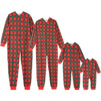 Family Matching Hooded Plaid Onesie Pajamas