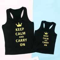 Mommy and Me Golden Letter Printed Matching Tank Top