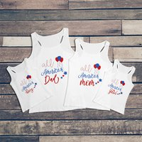 All American Family Matching Tank Top in White