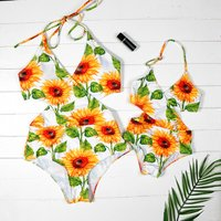 Mommy and Me Sweet Sumflower Printed Matching Swimsuit