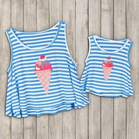 Mommy and Me Sweet Ice Cream Striped Tank Top