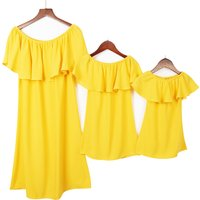 Mommy and Me Bright Flounce Off Shoulder Matching Dress
