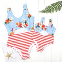 Mom and Me Chic Cutout Front Striped Matching Swimsuit
