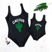 Mom and Me Cute Cactus Print Matching One-piece Swimsuit