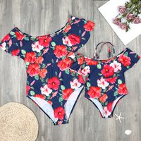 Joyful Flounced Floral Mom and Me Matching Swimsuit
